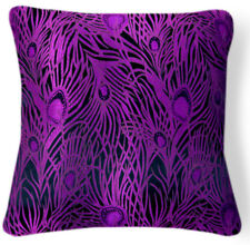 BL039a Purple Peacock Black Rayon Brocade Cushion Cover/Pillow Case*Custom Size