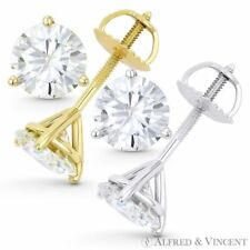 6.00ct Round Cut Moissanite Charles & Colvard Martini Stud Earrings in 14k Gold