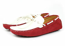 Men's Casual & Formal Loafer Driving Shoes Red White Lace Up / Slip On Brand New