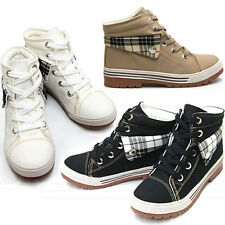 New Womens Athletic Canvas High Top Ankle Sneakers Boots Shoes