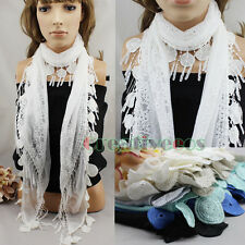 Elegant Sexy Fashion Neck Tie Lace Cotton Long Scarf With Funky Fun Lace Trim