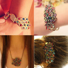 Multi Vintage Colorful Crystal Peacock Bangle Bracelet Rhinestone Hand Chain