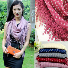 Floral With Funky Fun Tassel Large Triangle Shawl Comfortable Cotton Scarf Wrap