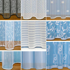WEIGHTED BASE NET SLOT TOP VOILE CURTAINS ~ CHOICE OF DESIGNS SOLD BY THE METRE