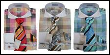 New Daniel Ellissa Multi Plaid White Spread Collar French Cuffs Dress Shirt,Tie
