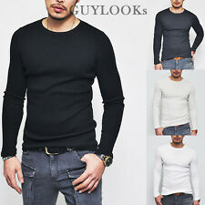 Smart-casual Mod Must-have Mens Slim Fit Waffle Crew Neck Tee S M By Guylook