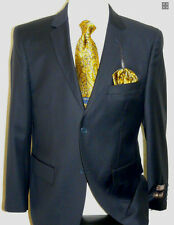 MENS SOLID NAVY BLUE 2 BUTTON WOOL CASHMERE BLEND BUSINESS SUIT SIZES 36-54