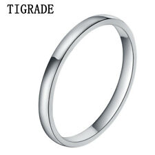 Titanium Ring 2mm Classic Polished Domed Thin  Wedding Ring Slimly Fashion Rings