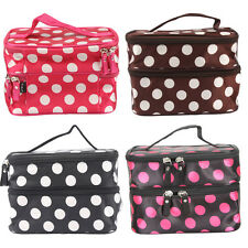 New Unique Dots Pattern Double Layer Pack  Makeup Cosmetic Container Hand Case