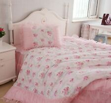 King Queen Full Twin Princess Shabby Floral Chic Pink Duvet Comforter Cover Set