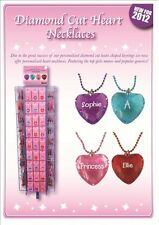 PERSONALISED ALPHAPET NAMES A-H DIAMOND CUT HEART NECKLACES GIFT BIRTHDAY XMAS