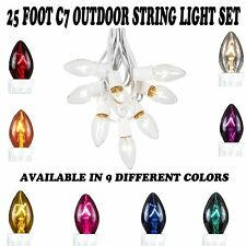 Novelty Lights C7 Outdoor Patio Party Christmas String Light Set -White Wire-25'
