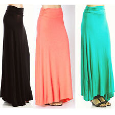 Popular Trends High Waisted Classic Women Color  Maxi Skirt Colorful S M L