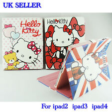 New Hello Kitty PU Leather Case Stand Cover For Apple iPAD 2 3 4 With Sleep/Wake