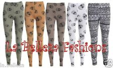 NEW LADIES WOMENS GIRLS LEGGINGS SKULL IN 5 COLOURS AND AZTEC SIZE UK 8-14