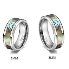 Abalone Tungsten Stripe Shell Inlay Wedding Band Rings Stunning Comfort Fit
