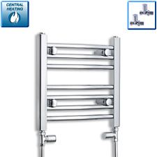 450mm wide / 400mm high Chrome Heated Small Towel Rail Radiator Straight