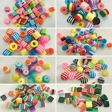 10mm RESIN GUMBALL CABOCHONS, MIXED COLOURS, STRIPES, SQUARE, FUN RETRO DESIGN