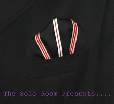 OXFORD STRIPES GOLD RED BLACK 2-WAY PUFF POCKET HANDKERCHIEF - SUITS - CROMBIES