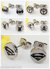 1 Pair Surgical Stainless Steel Ear Studs Coin Earrings Superman Bat Peace Skull