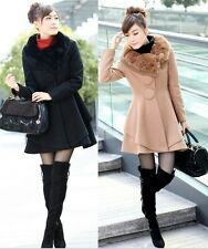 NEW HOT WOMAN FASHION V-NECK ARTIFICIAL WOOL COAT SLIM WAVE SKIRTS JACKET N070