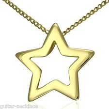 Solid 9ct Gold Fallen Star Pendant Charm & Necklace Chain Jewellery Gift Set 9k