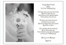 To my Best Friend on her Wedding Day - Unique PERSONALISED Poem gift Card