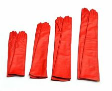 Custom made 30cm to 80cm long plain style evening real leather gloves*red