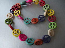 COLOURFUL PEACE SIGN, HOWLITE STONE BEADS, MIXED COLS,JEWELLERY MAKING,APP 25/50