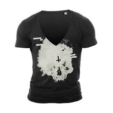 DEEP V NECK SKULL 1 TSHIRT T SHIRT TOP NEW WHITE TOWIE GEORDIE SHORE MUSCLE VEST