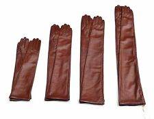 Custom made 30cm to 80cm long plain style evening real leather gloves*red brown