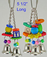 Dingaling w/ 2 or 3 Bells, Free Shipping, Parrot Toy for X-Sm. Parrots.Fowl Play