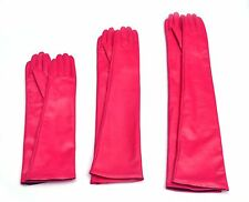 Custom made 30cm to 80cm long plain style evening real leather gloves*dark pink