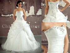 New white/ ivory Organza wedding dress Bridal Gown Stock size 6-8-10-12-14-16-18