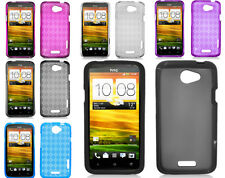 For HTC One X Colorful Checker Transparent Soft Flexible Thin TPU Cover Cases