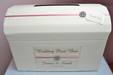 Personalised Wedding Chest Post Box. Ivory or Cream. Lace & Jewel Design