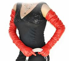 "80cm(31.5"") long plain style top quality leather evening/opera gloves*red"