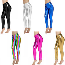 Womens Faux Leather Shiny Stretch Leggings Pants Tights Gold Silver Black Blue