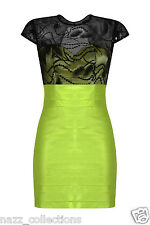 GREEN LACE MESH SEQUIN EMBELLISHED TAFFETA PANEL BODYCON COCKTAIL DRESS 8-16