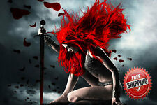 Fantasy Girl angel Guerrier Avec Rouge Cheveux Premium canevas écris Mur Art Image