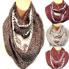 Ditsy Heart Cotton Trim Circle Loop Infinity Scarf Snood - Latest New Style!