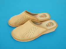 Womens Ladies Slipper Mules Clogs Punched Brown