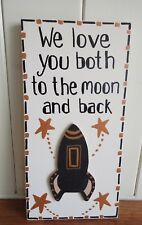 SHABBY & CHIC PLAQUE LOVE YOU TO THE MOON AND BACK NANA MUMMY DADDY PERSONALIZED