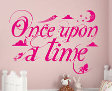ONCE UPON A TIME FAIRYTALE STICKER Quote Nursery Room Rhyme Story Wall Art Vinyl