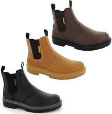 MENS BLACK BROWN TAN DEALER CHELSEA WORK SAFETY STEEL TOE CAP SLIP ON BOOT SHOES