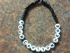Black beaded band bracelet handmade to order - choose your caption from list