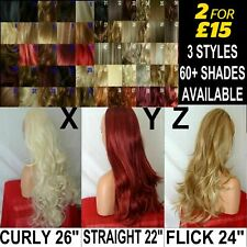 Half WIG Long Curly Wavy 3/4 wig fall Hair Piece Black Brown Blonde Red Auburn