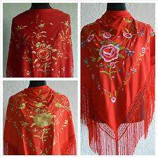 "Red spanish flamenco triangular shawl large multi  floral embroidery 66"" x 39"""