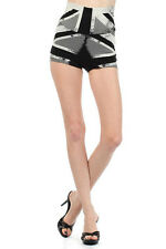 Popular Women Trends High Waisted British Printed Pulled On Shorts Black S M L
