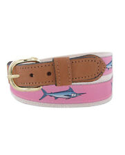 ZEP-PRO Embroidered Leather Canvas Ribbon Fishing Belt >  MARLIN < PINK pic size